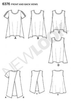 6376 New Look Pattern: Misses' Easy Tops with Length Variations